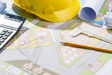 Architects workplace - architectural project with blueprints. - 146363756
