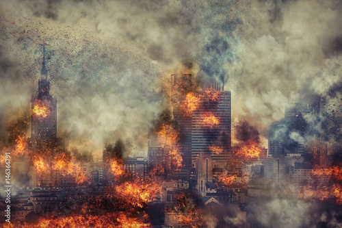 Apocalypse. Burning city, abstract vision. Photo manipulation - 146366791