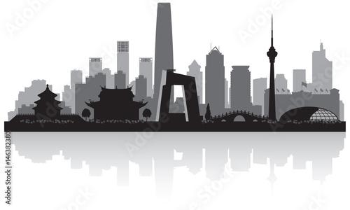 Fototapeta Beijing China city skyline silhouette