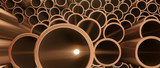 Copper metal pipes on warehouse. 3d Rendering - 146384320