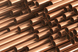 Copper metal pipes on warehouse. 3d Rendering - 146384369