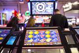 Slot machine screen in a casino