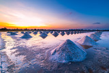 sunset in dry sea salt farm landscape