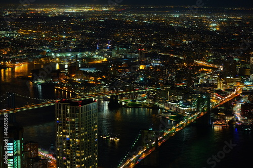 Brooklyn and Manhattan Bridge at night from above Poster