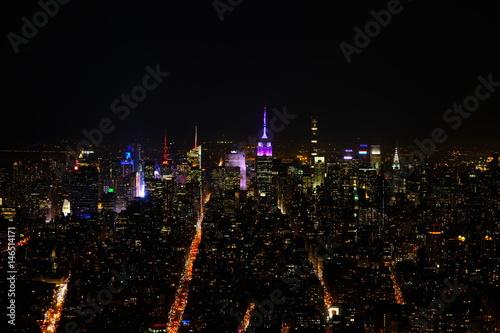 Manhattan skyline at night from One World Trade Center Poster