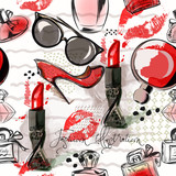 Fashion  illustration or pattern with red lipstick, shoes, glasses and perfume. Watercolor style - 146519771