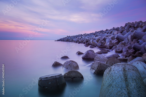 Fotobehang Purper Amazing sunset view at Malaysia beach