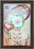 Fairytales flower with heart,rainbow and moon
