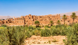 View at the Buildings of old Kasbah in Tinghir (Tinerhir) Oasis - Morocco
