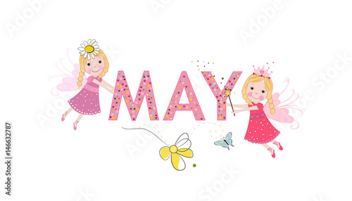 May text with cute fairy tale.  May and spring time background