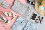Fashion summer women clothes set with cosmetics and accessories - 146663925