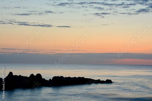 Beautiful sunrise at the sea Poster
