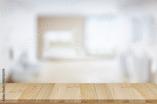 Empty top wood table and blurred bath room background. For product display montage.