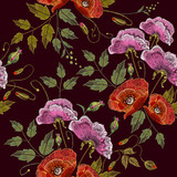 Pink flowers and poppies embroidery seamless pattern. Beautiful bouquet of spring flowers, poppies classic embroidery seamless background for clothes - 146712140