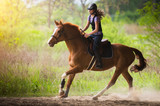 Young pretty girl riding a horse with backlit leaves behind in spring time - 146716566