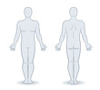Vector silhouettes of man front and back view