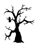 Black vector silhouette of spooky dead tree with raven sitting on the branch