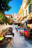 small cosy street of Placa district in Athens, Greecer, retro toned - 146766324