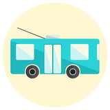Cute little flat trolley bus icon, bright blue trolleybus icon, ecological city transport