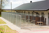 Outdoor dog kennels outside a building. - 146793969