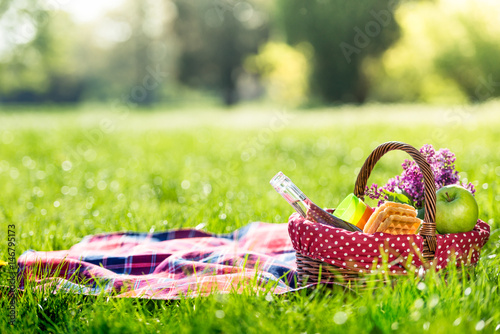 Póster picnic basket and blanket outdoors