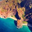 Hawaii Na Pali coast in Kaui, Hawaii. Aerial view of Honopu arch and beach on Kauai island.