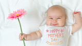 Fototapeta Mother's Day message with baby girl