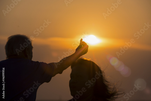 Blur background, Sunset at the tourist attractions of Thailand Poster