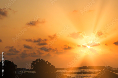 Blur background, Sunset at the tourist attractions of Thailand Canvas