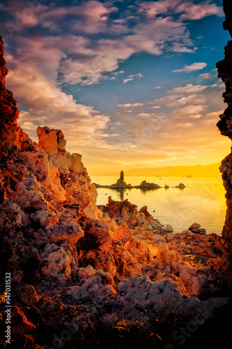 Watching the Submarine Formation surrounded by Tufa at Mono Lake, California Poster