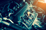 Powerful engine of a car. Internal design of engine with combustion and valve in dark tone - 147064361