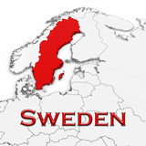 3D Map of Sweden with Country Name Highlighted Red on White Background 3D Illustration