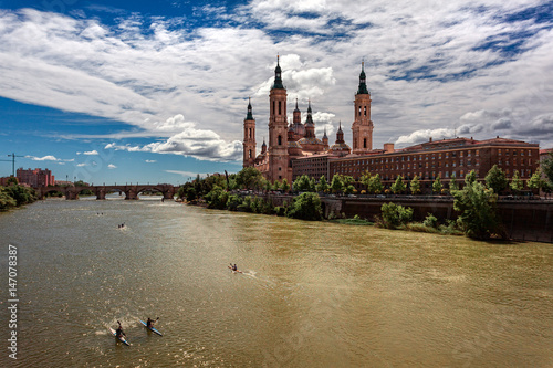 Zaragoza. View of the city from the river.