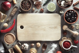 herbs and spices on wood background - 147162900