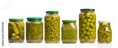 Fotobehang Verse groenten Konservengläser