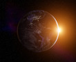 Planet Earth with rising Sun, view from space. Elements of this image furnished by NASA - 147205708