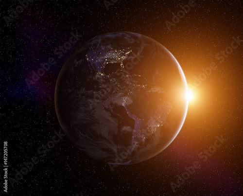 Staande foto Heelal Planet Earth with rising Sun, view from space. Elements of this image furnished by NASA