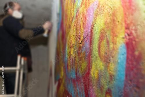 Graffiti Kunst - Sprayer/ Künstler am Arbeiten Poster
