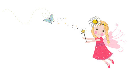 Cute spring fairy tale vector. Spring time background