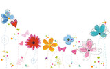 Summer time colorful doodle flowers background - 147264746