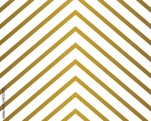 Chevron pattern wallpaper design set in gold and white. Seamless vector texture paper background. - 147270102