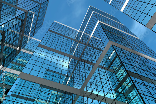 Abstract group of building with bright and clear sky both on background and reflecting on facade. 3D illustration. - 147271312