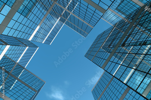 Abstract group of building with bright and clear sky both on background and reflecting on facade. 3D illustration. - 147271379