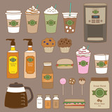 Fototapety Vector illustration of coffee shop and bakery graphics.