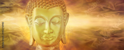 Plexiglas Zen Golden Buddha in Deep Contemplation - Mindfulness Golden Buddha on a beautiful ethereal subtle golden flowing energy background with copy space on both sides