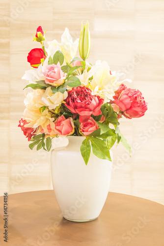 Beautiful roses flower in a ceramic vase decoration