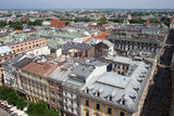 Aerial view of the north part of the Krakow with old historic buildings. View from St Mary's Cathedral. Poland.