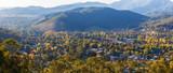 Beautiful countryside town in autumn aerial panorama - Bright, Victoria, Australia - 147381596