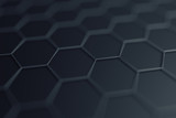 Abstract 3d rendering of futuristic surface with hexagons. Contemporary sci-fi background with bokeh effect. Poster design. - 147410913