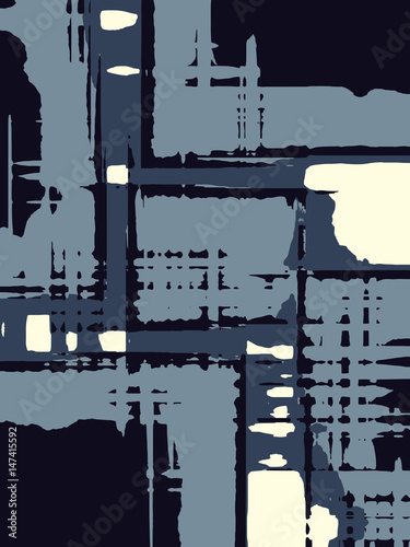 Abstract grunge vector background. Monochrome toned composition of irregular graphic elements.